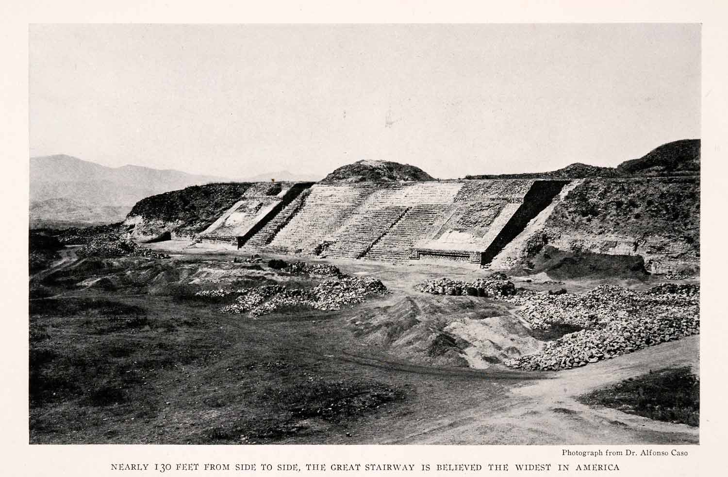 1932 Halftone Print Monte Alban Mexico Great Stairway Archaeology NGM4