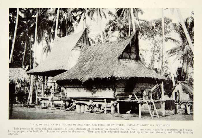 1920 Print Sumatra Indonesia Architecture Stilt Houses Historical Image NGM5