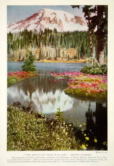 1920 Color Print Mount Rainier Washington State Landscape Mountain Image NGM5