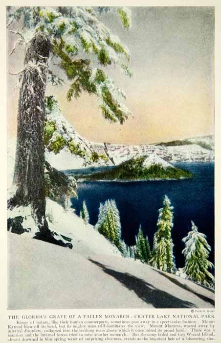 1920 Color Print Crater Lake National Park Oregon Landscape Historical View NGM5