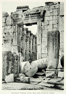1931 Print Baalbek Temple Lebanon Ruins Greek Architecture Religious Child NGM7