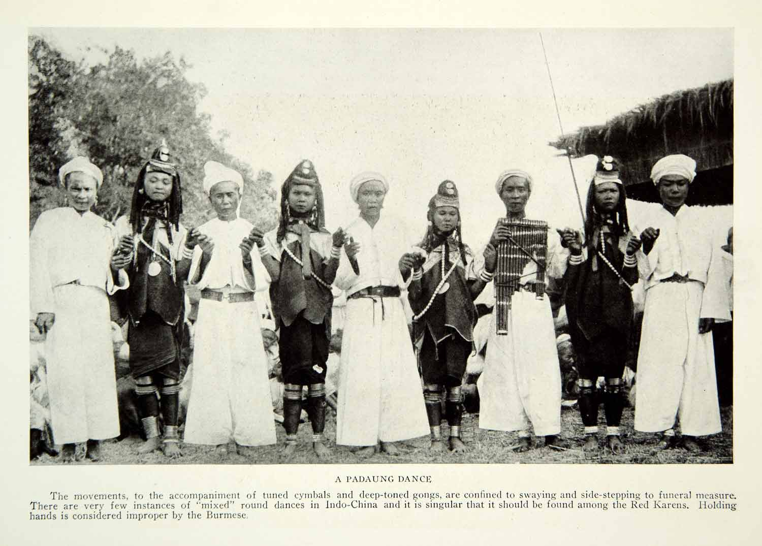 1922 Print Padaung Dance Burma Tribe Native Indigenous Red Karens Musical NGM7