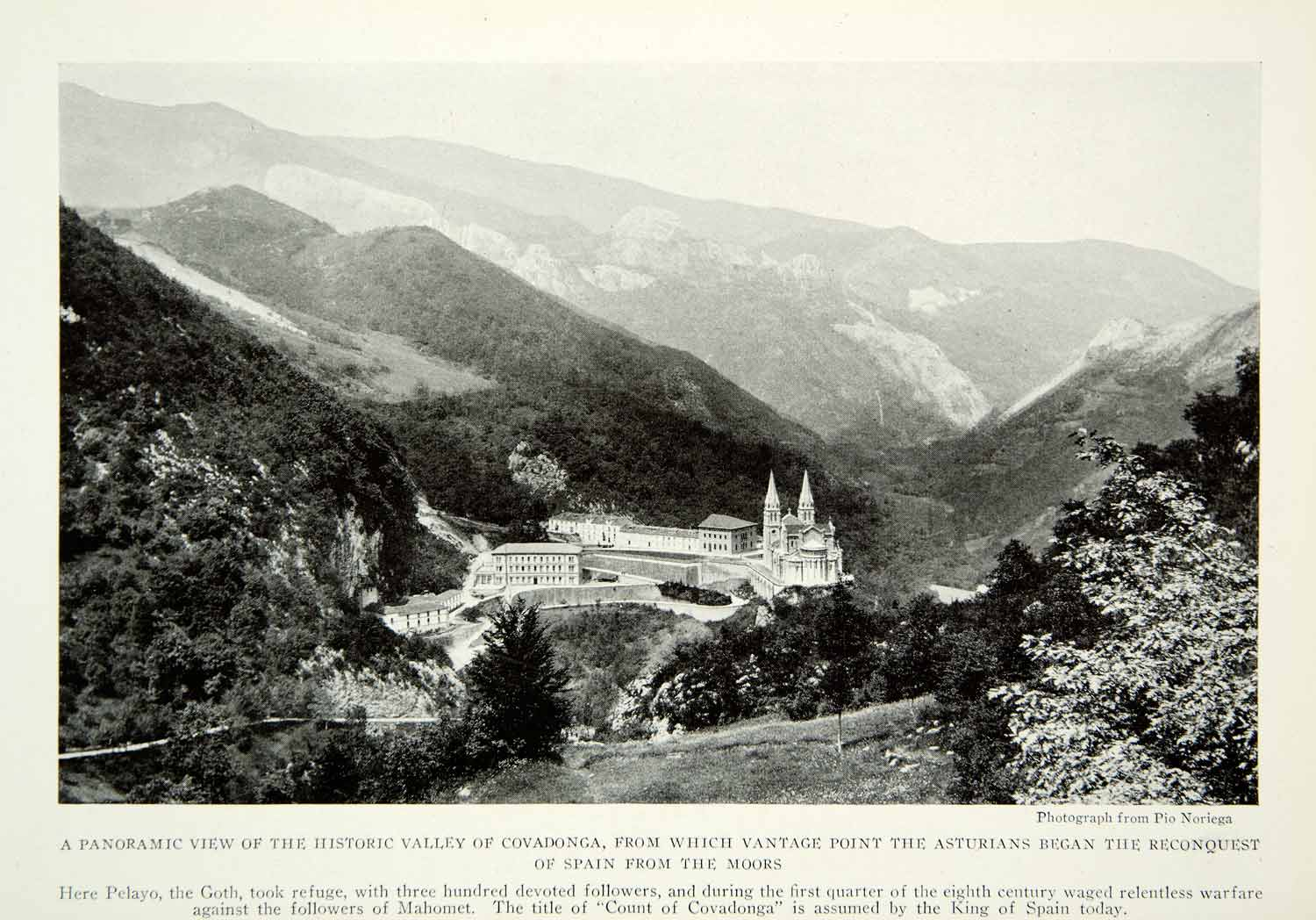 1922 Print Valley Covadonga Pelayo Gothic Architecture Spain Mountains Moor NGM7