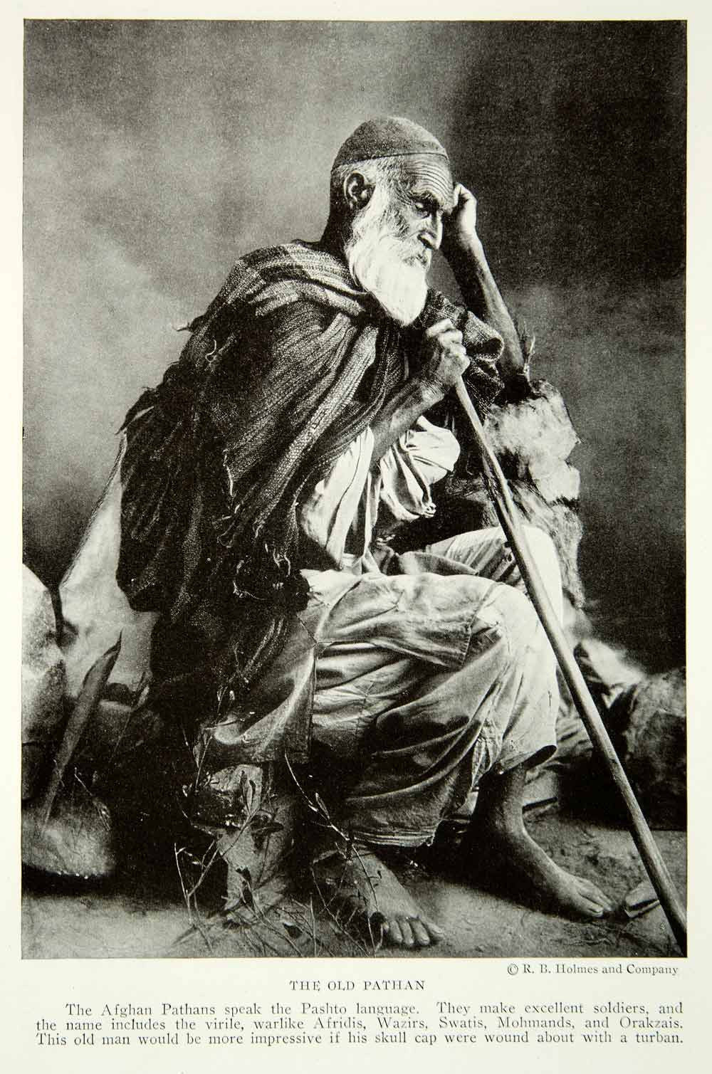 1921 Print Old Pathan Man Portrait Afghanistan Ethnic Persian Traditional  NGM7