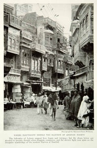 1921 Print Arabian Nights Lahore Pakistan Cityscape Street Scene Balconies NGM7 - Period Paper