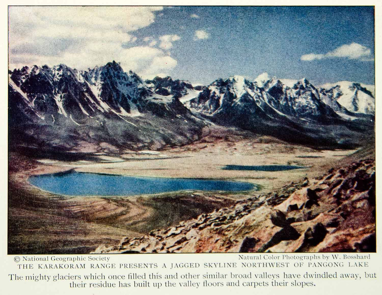 1931 Color Print Karakoram Mountain Range Pangong Lake India China Pakistan NGM7