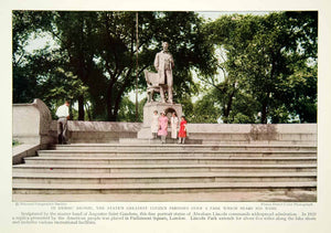1931 Color Print Lincoln Park Statue President Chicago Illinois Tourists NGM7