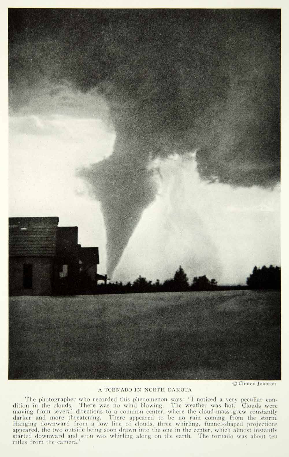 1922 Print Tornado Severe Weather North Dakota Thunder Storm Natural Image NGM8