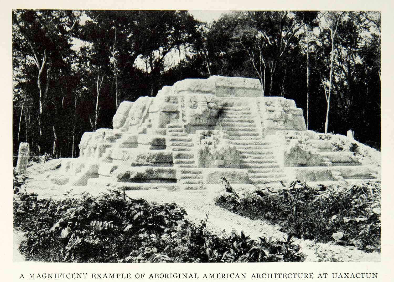 1931 Print Pyramid E-VIII Uaxactun Guatemala Archaeology Excavation Ruins NGM8 - Period Paper