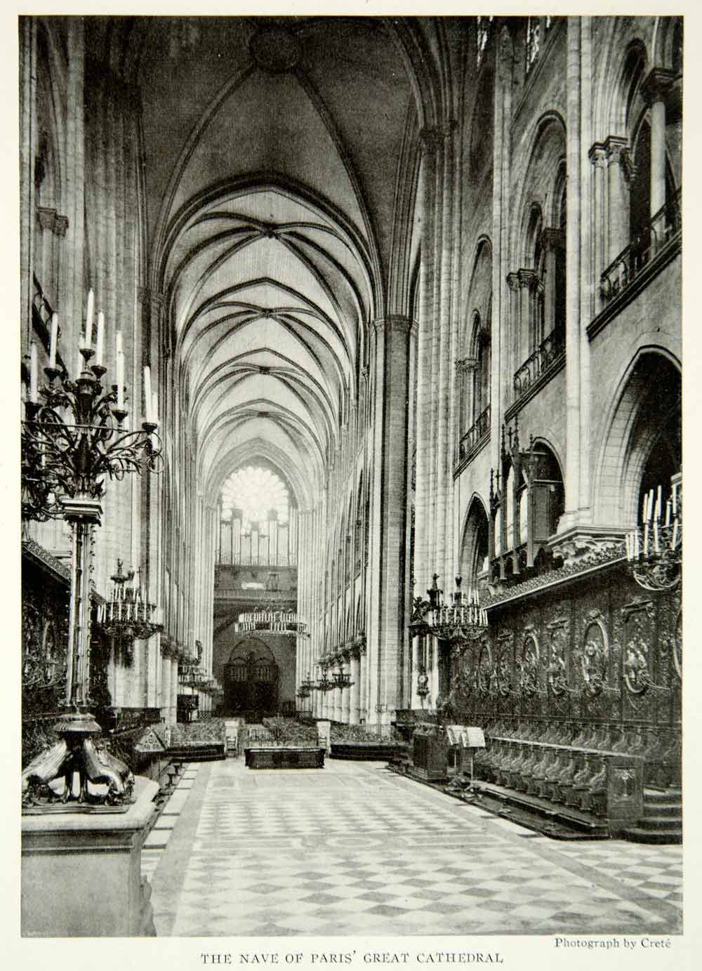 1922 Print Paris Cathedral France Historical Religious Institution Building NGM8