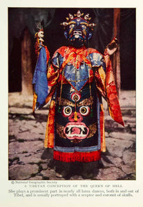 1931 Color Print Tibetan Dancer Costume Queen Hell Buddhist Historical NGM8