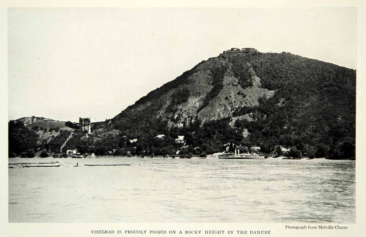 1929 Print Bisegrad Castle Danube River Hungary Fortress Medieval Historic NGM9