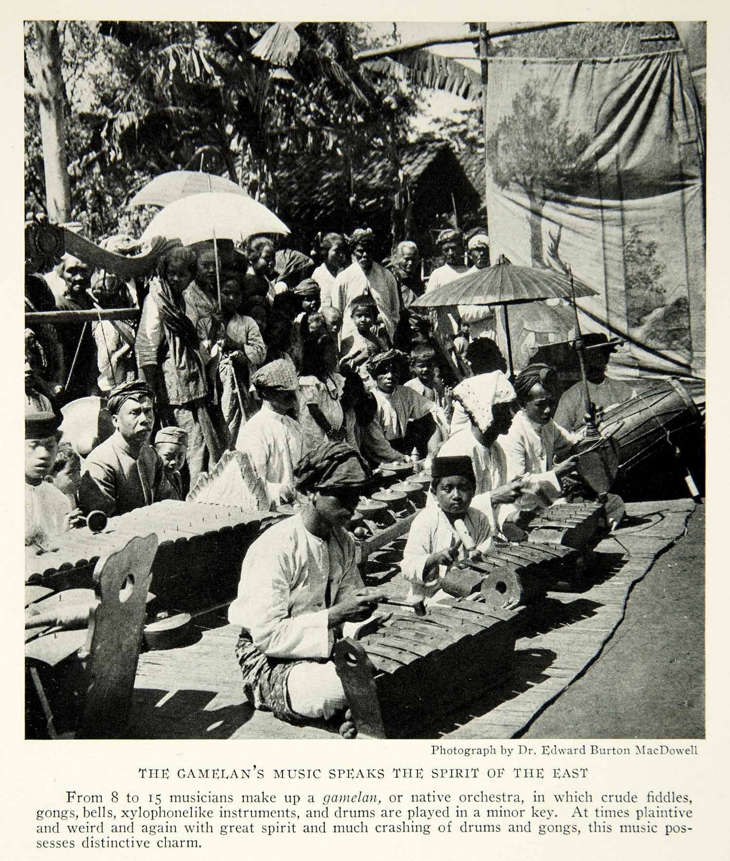 1929 Print Gamelan Instruments Orchestra Native Java Indonesia Historical NGM9 - Period Paper