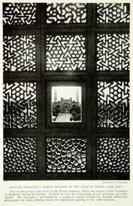 1924 Print Akbar Tomb Agra India Architecture Marble Window Historical View NGM9