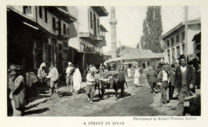 1924 Print Sivas Turkey Cityscape Street View Historical Image Villagers NGM9