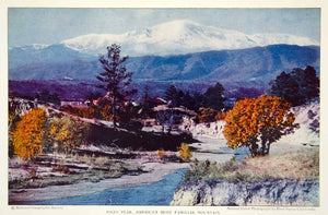 1932 Color Print Pikes Peak Mountain Range National Forest Landscape Image NGM9