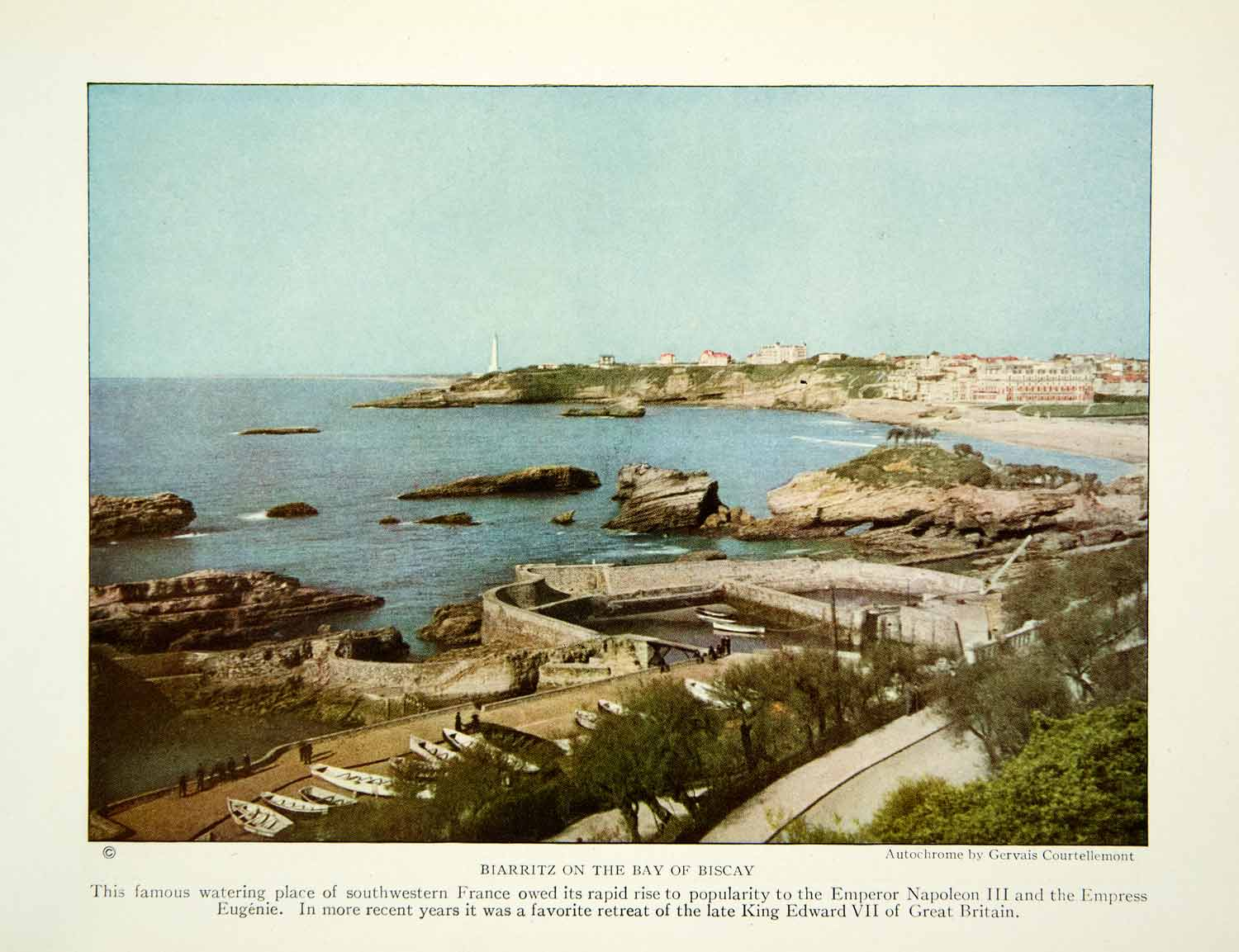 1924 Color Print Bay Biscay Biarritz Town France Landscape Historical Image NGM9