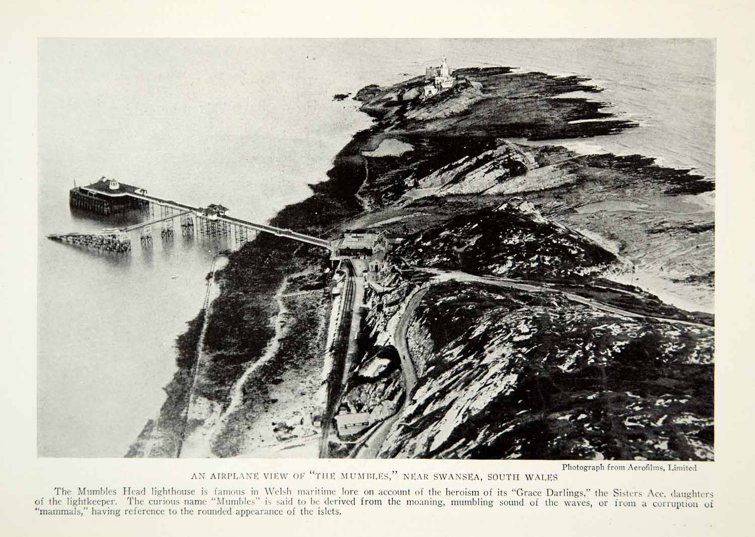 1923 Print Mumbles Head Lighthouse Wales Swansea Aerial View United NGMA1
