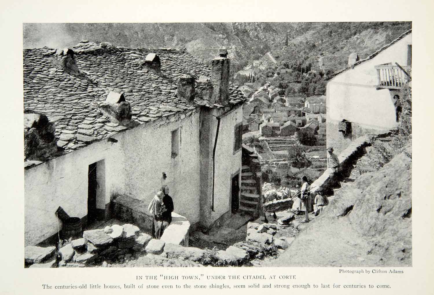 1923 Print Corte Town Corsica Island Mediterranean Sea Homes Traditional NGMA1