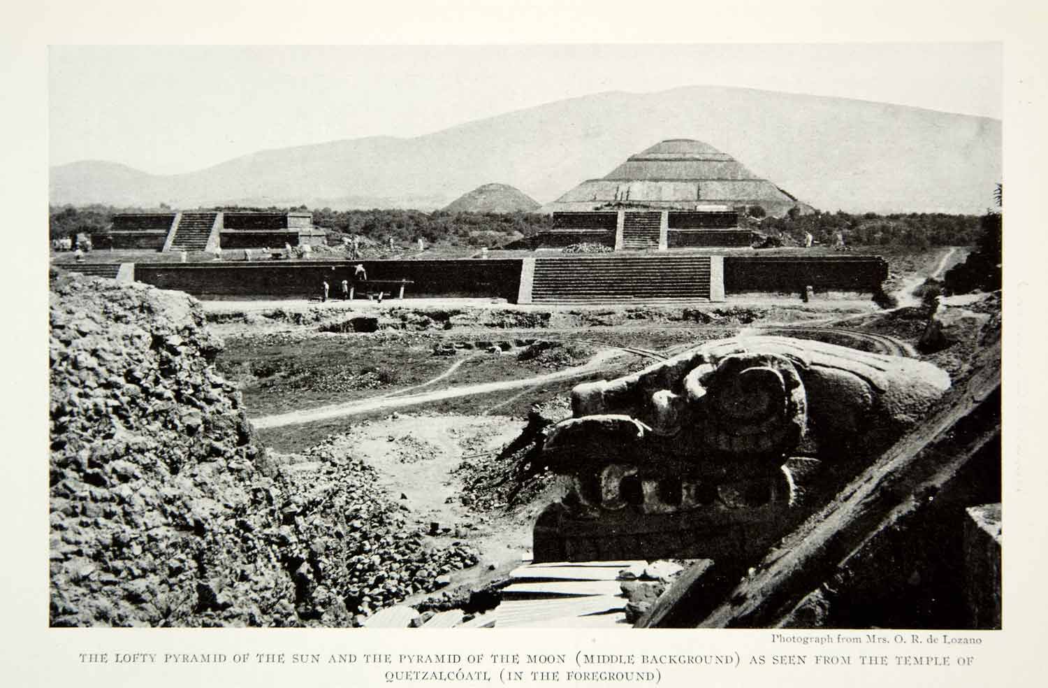 1923 Print Temple Sun Moon Quetzalcoatl Archaeology Ancient Historical NGMA1
