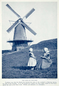 1923 Print Zeeland Holland Women Child Traditional Clothing Windmill NGMA1