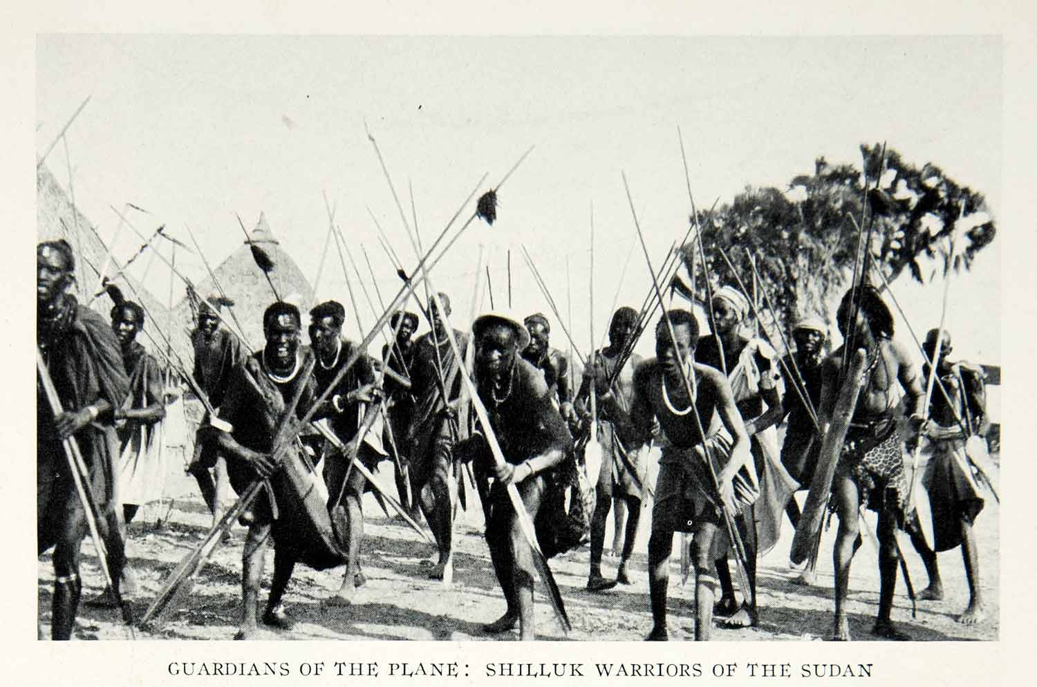 1928 Print Shilluk Warriors Tribe Ethnic Sudan African Soldiers Historical NGMA1