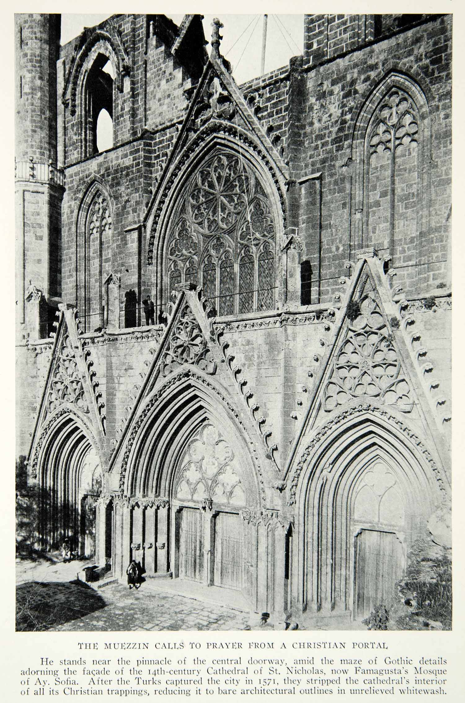 photo relating to St Nicholas Prayer Printable identified as 1928 Print Cathedral St. Nicholas Cyprus Famagusta Mosque Mediterranean NGMA1