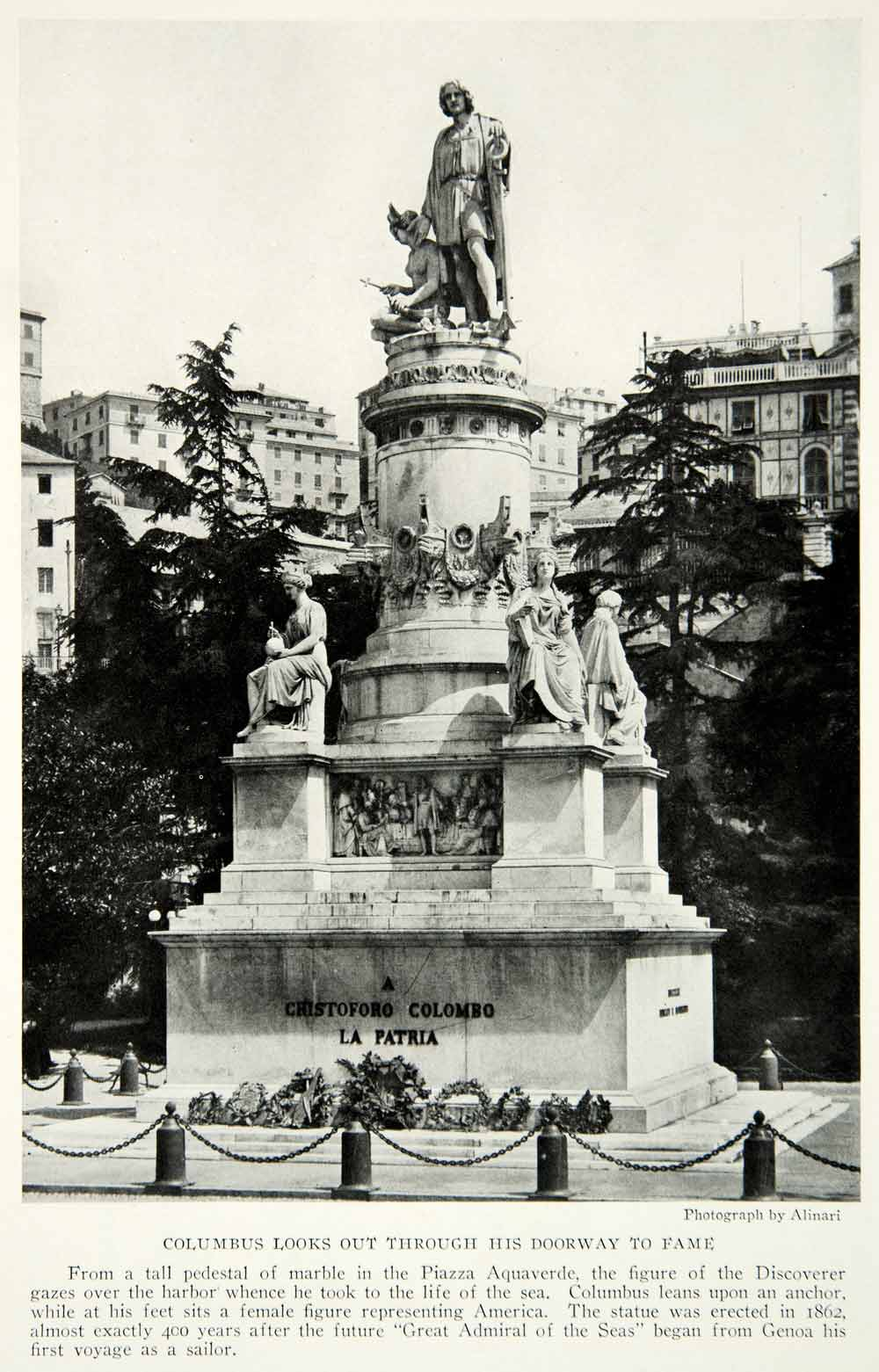 1928 Print Christopher Columbus Statue Genoa Italy Monument Piazza NGMA1