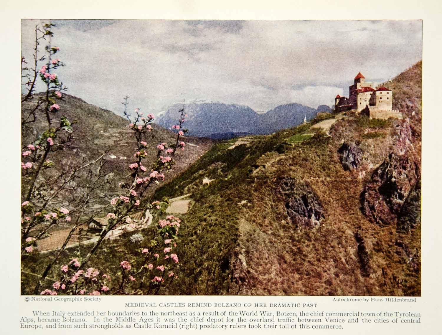 1928 Color Print Karneid Castle Italy Bolzano Fortress Structure Medieval NGMA1