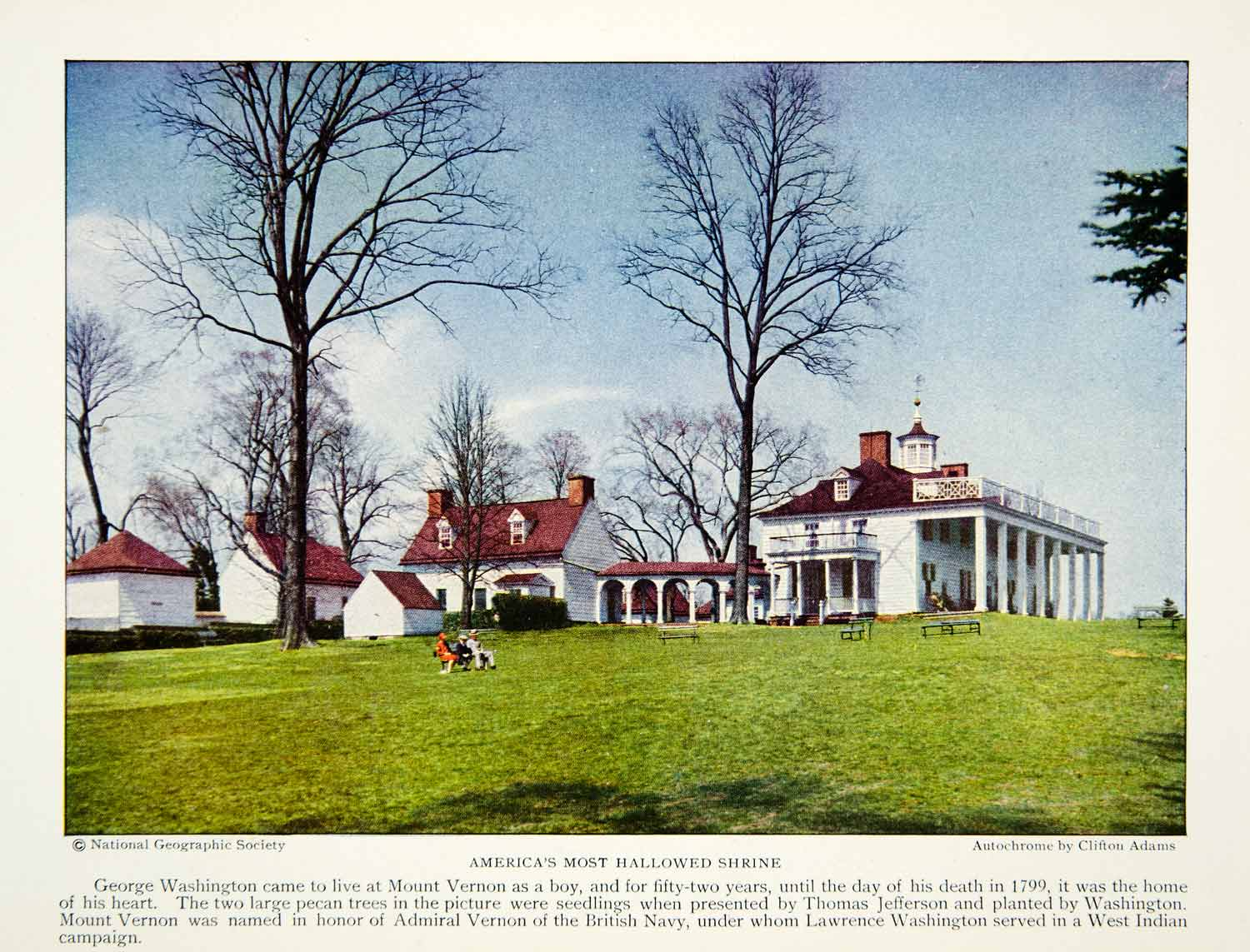 1928 Color Print Mount Vernon George Washington Home President General Historic