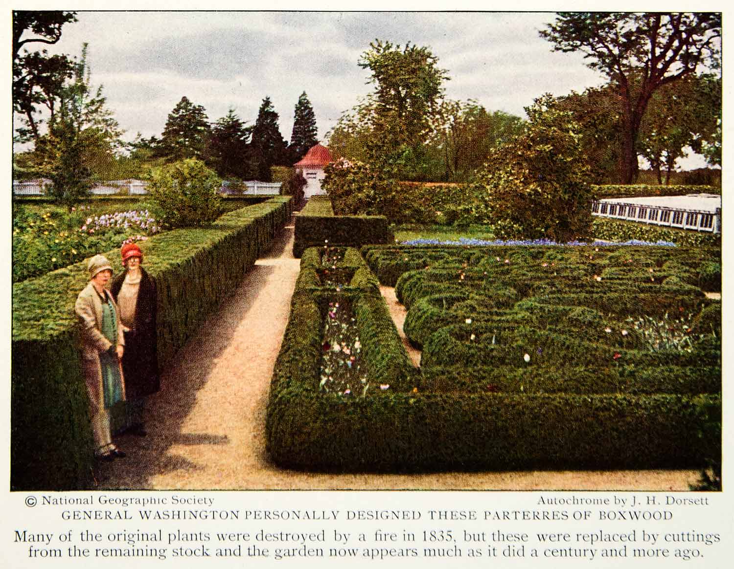 1928 Color Print Mount Vernon George Washington Garden Historical Landmark Image