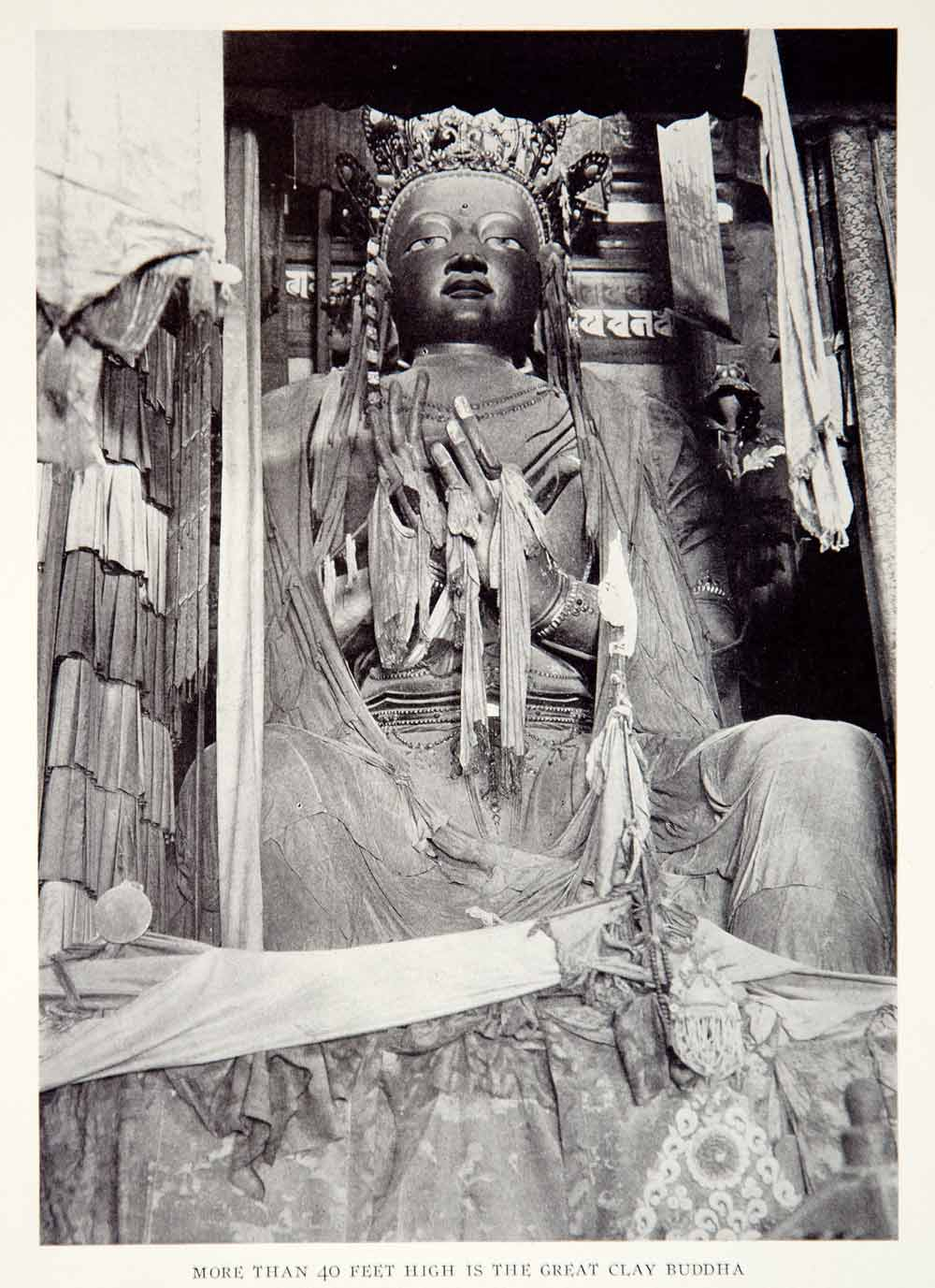 1928 Print Buddha Statue Clay Temple Recompense Kindness China Historical NGMA2