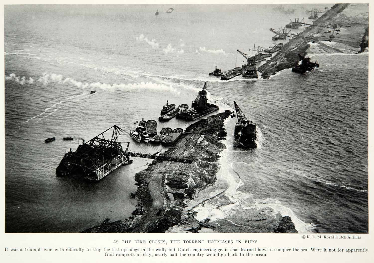 1933 Print Dutch Netherlands Dike Construction Ocean Historical Image View NGMA2