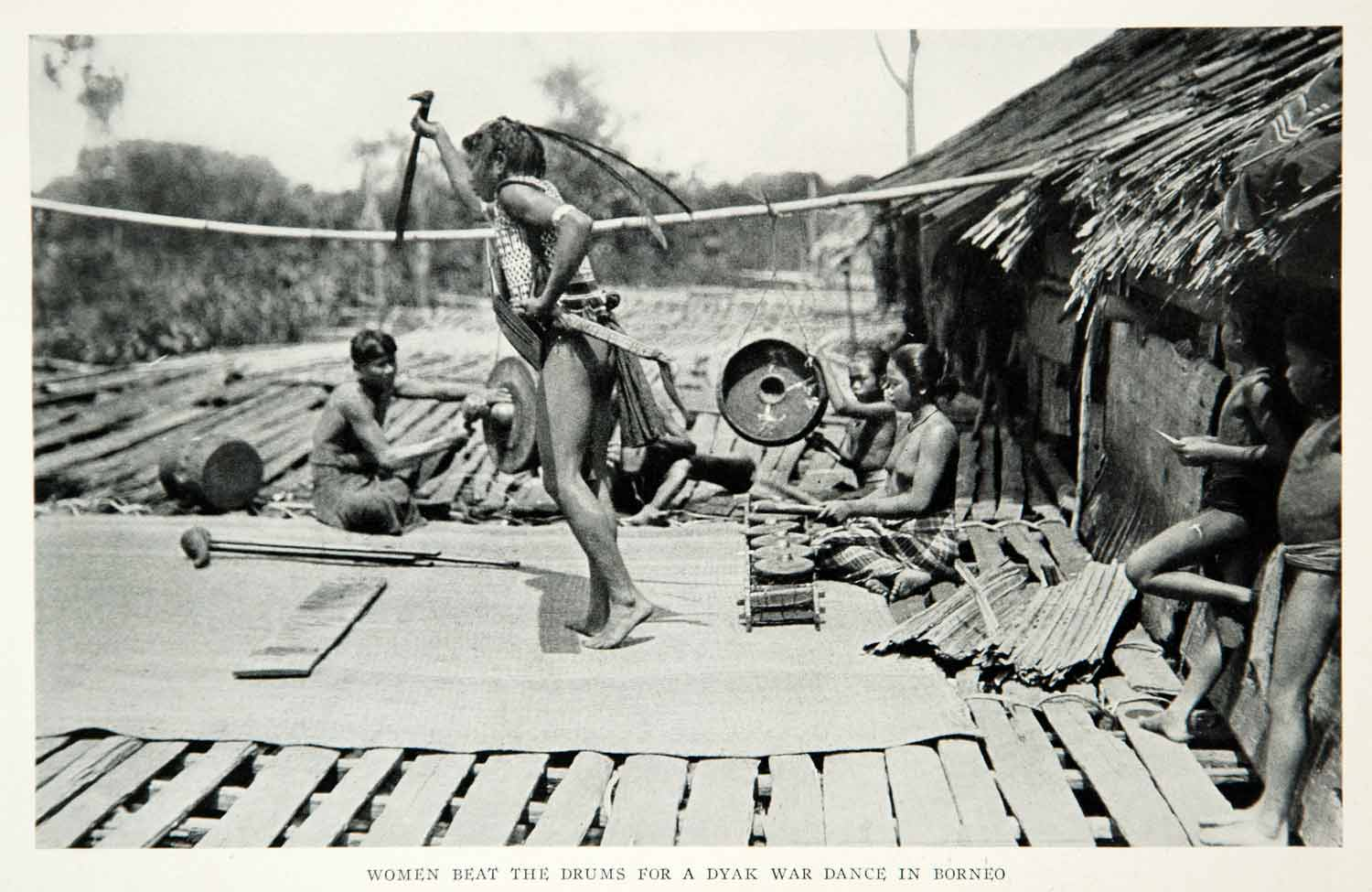 1932 Print Dyak War Dance Native Borneo Island Historical Image Tribal NGMA2