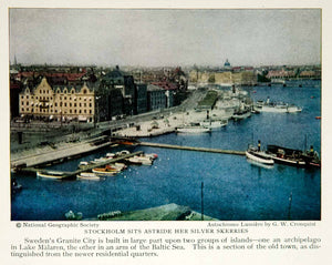 1928 Print Stockholm Sweden Waterfront Architecture Historical Image View NGMA2