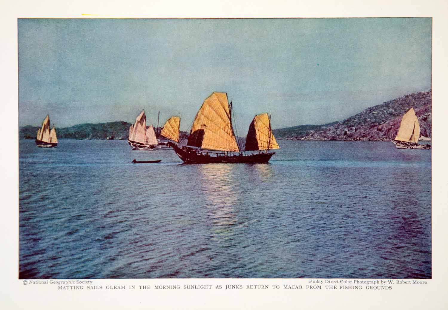 1932 Print Macao China Fishing Vessels Port Nautical Historical Image View NGMA2