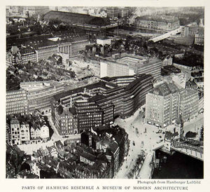 1933 Print Hamburg City Germany Architecture Cityscape Aerial View Image NGMA3
