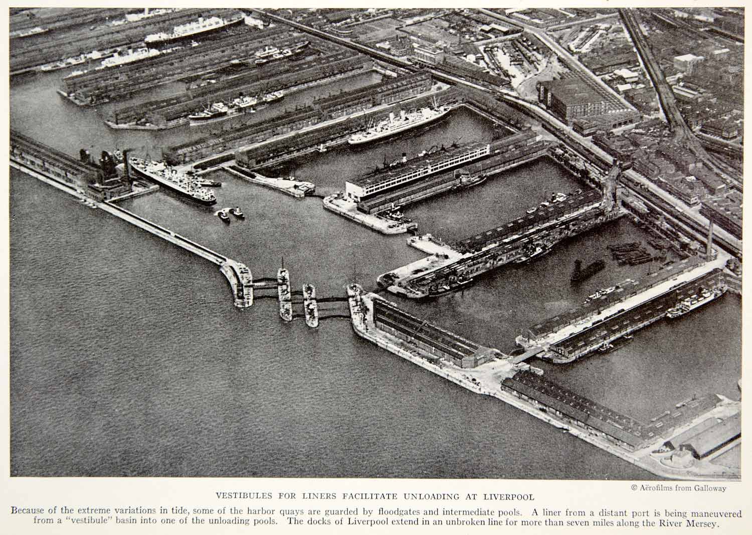 1934 Print Liverppol England Port Shipping Harbor Historical Image Aerial NGMA3