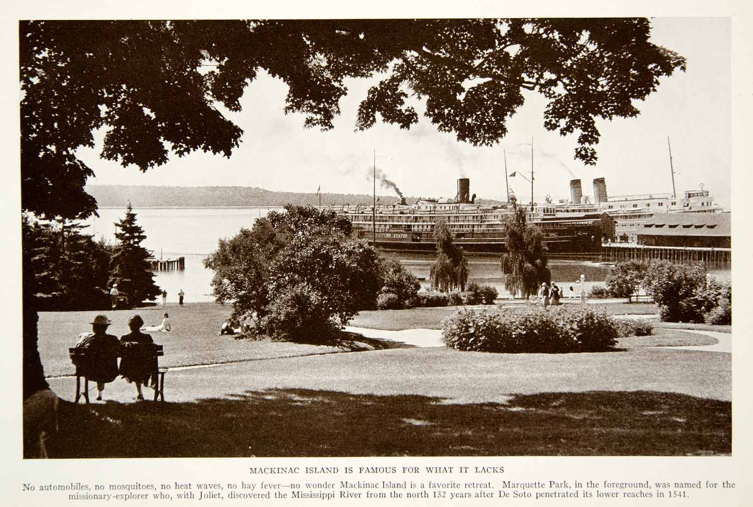 1934 Print Mackinac Island Michigan Lake Huron Historical Image Ship Boat NGMA3