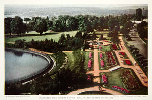 1933 Color Print Volunteer Park Capitol Hill Seattle Washington Landscape NGMA3
