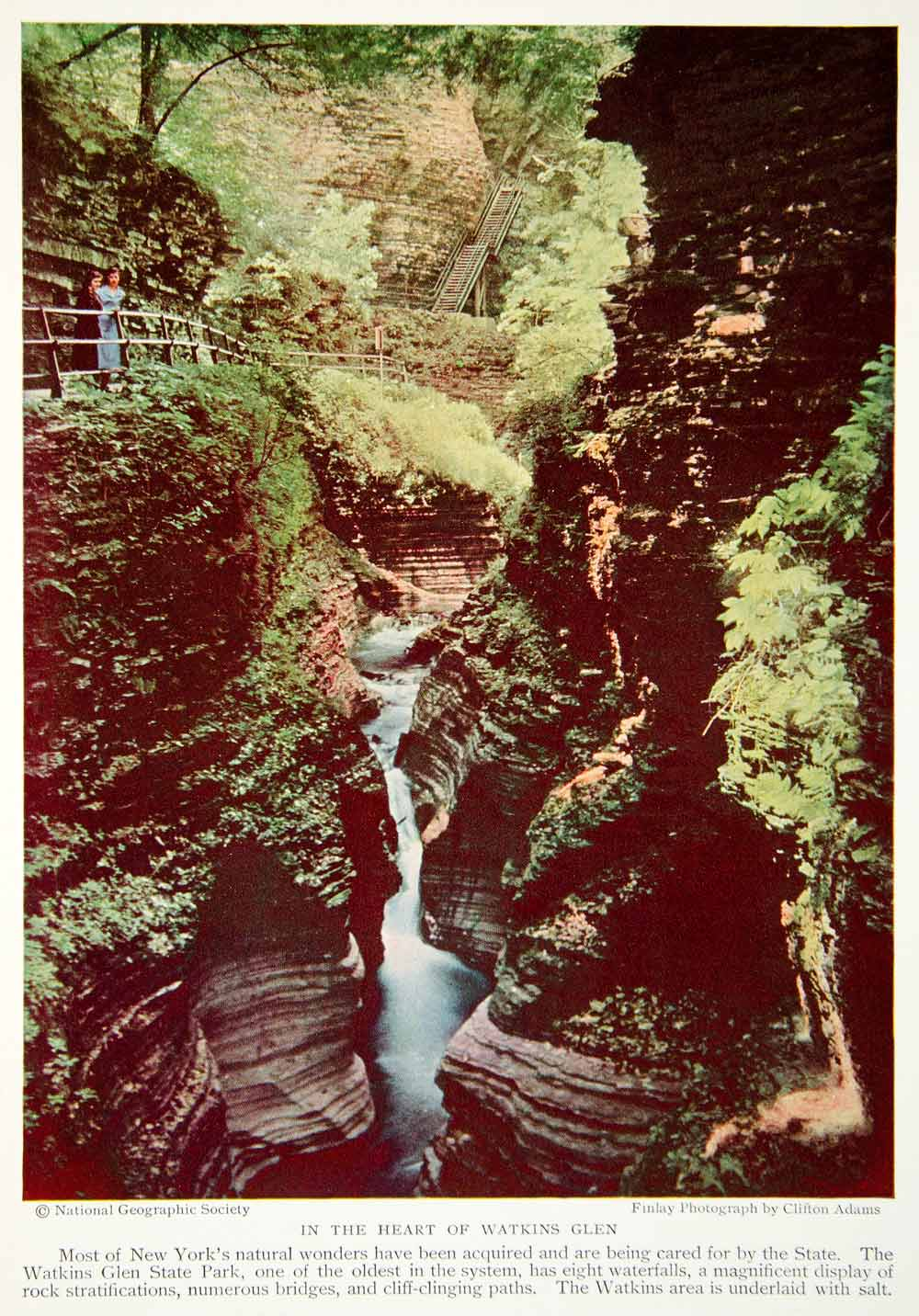 1933 Color Print Watkins Glen National Park New York Forest River Historic NGMA3