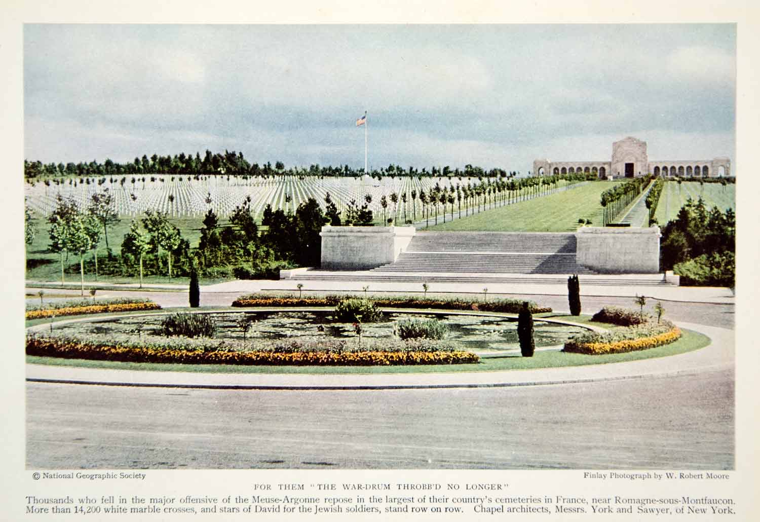 1934 Color Print Meuse Argonne Casualties Graveyard Memorial France Image NGMA3