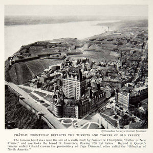 1935 Print Chateau Frontenac Castle Hotel St. Lawrence River Quebec City NGMA5