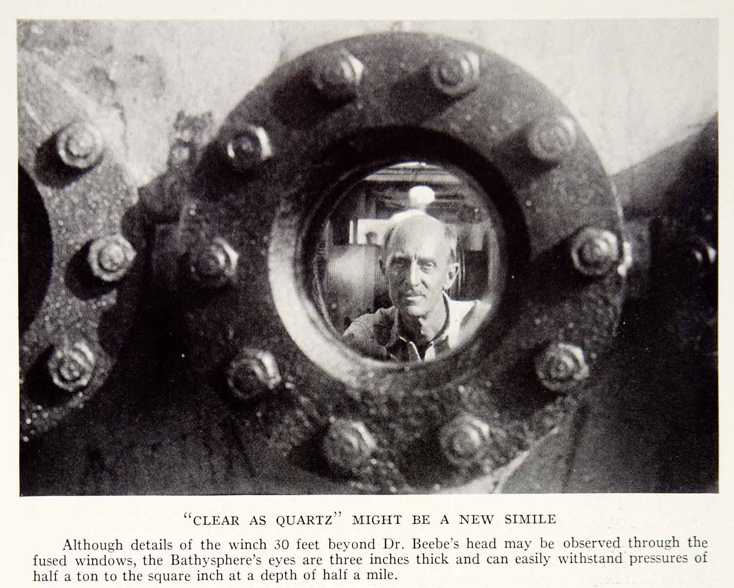 1934 Print Dr. Beebe Bathysphere Dive Submarine Quartz Windows Portrait NGMA5