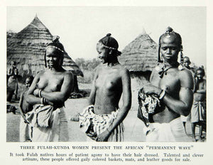 1935 Print Fulah Fula Kundra Women Portrait Breasts Tribal Hair Dressed NGMA5