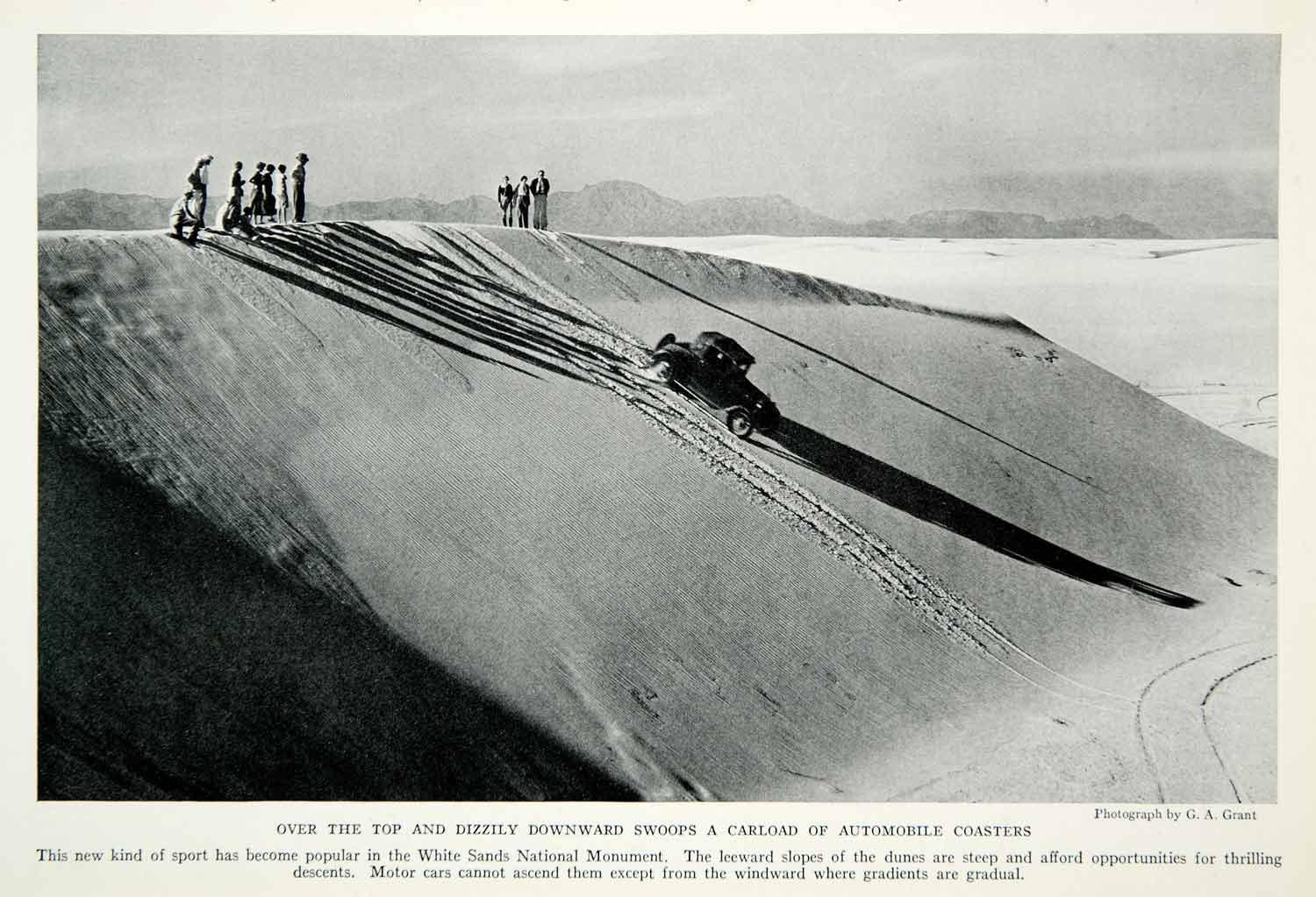 1935 Print Automobile Car Drift Dune White Sands National Monument Nature NGMA5