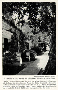 1935 Print Wiscasset Maine Street View Sidewalk Bench Historical Image NGMA6