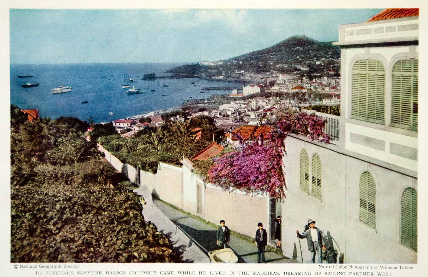 1934 Color Print Funchal Portugal Harbor Cityscape Architecture Historical NGMA6