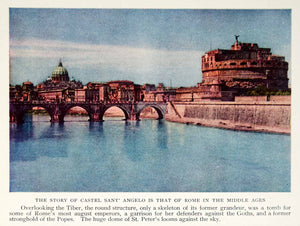 1934 Color Print Castel Sant'Angelo Tiber River Rome Italy Historical NGMA6