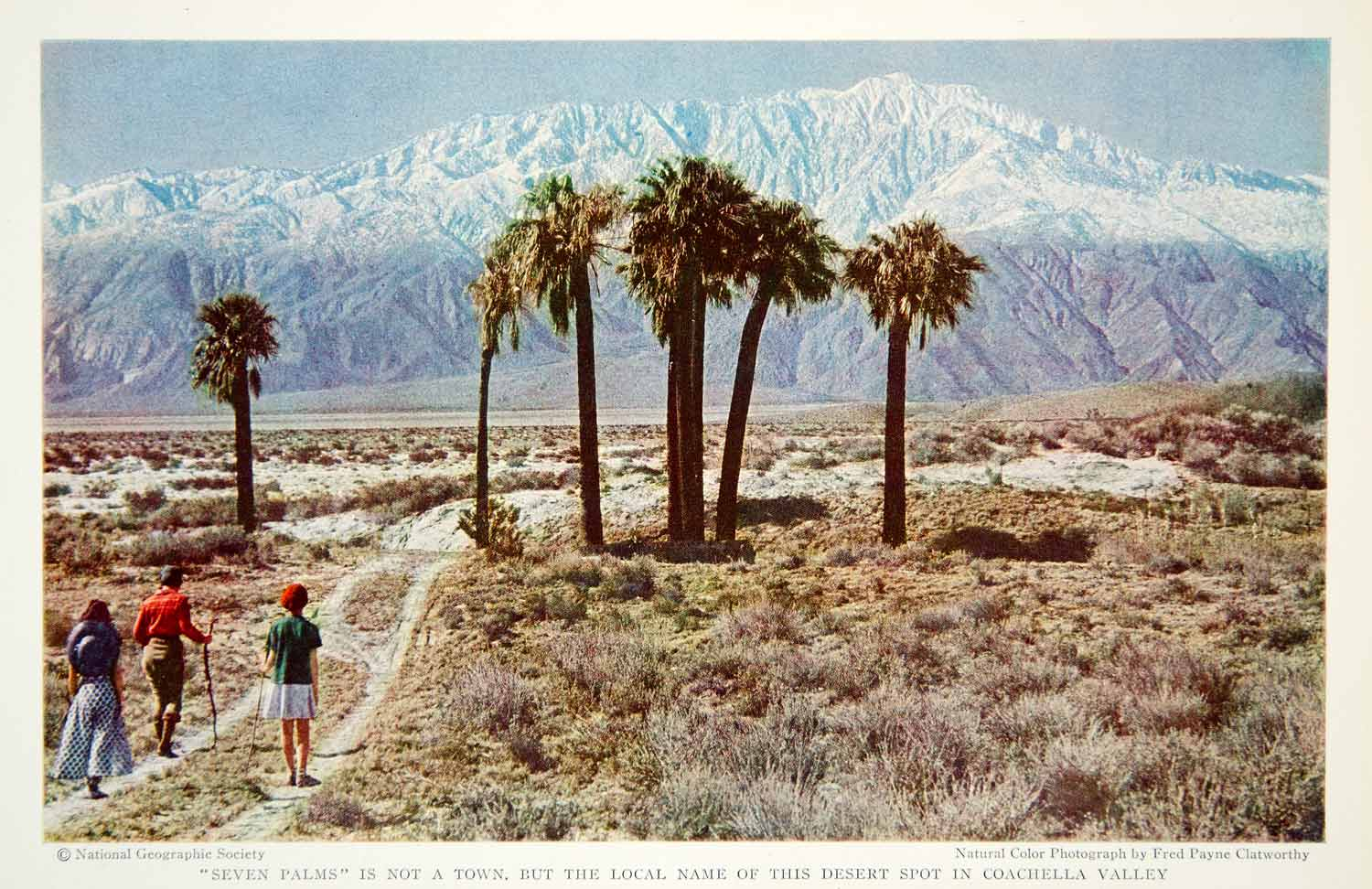 1934 Color Print Coachella Valley California Seven Palms Landscape Image  NGMA6
